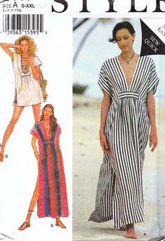 Caftán bata Beachwear patrón 2441 de estilo sin cortar