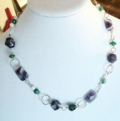 Superb Matinee Emerald and Amethyst Necklace by Earthcentricity
