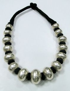 ethnic tribal sterling silver beads necklace jewelry