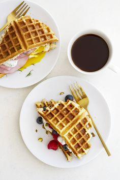 Sweet and Savory Gluten Free Waffle Breakfast Sandwiches | girlversusdough.com
