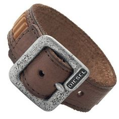 c6518eb8759 Bracelete Diesel Men s DX0575 Men s Brown Leather and Stainless Steel  Buckle Cuff Bracelet Jewelry  Bracelete