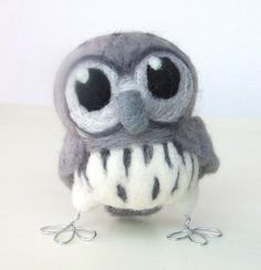 Needle Felted Bird Wise Grey Owl Hoot  Little by feltmeupdesigns, £26.00