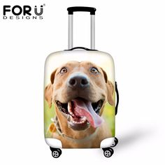6e32588d66b FORUDESIGNS Cute 3D Dog Waterproof Travel Luggage Cover Elastic Thick  Suitcase Rain Cover S M