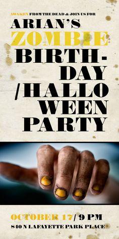 dope zombie halloween bday party invite from @Bri Emerymery