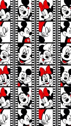 disney and wallpaper image mickey Minnie mouse picture reel photobooth photo black white red disneyworld disneyland park cartoon characters wallpaper lock screen iPhone Samsung