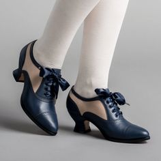 PRE-ORDER Lucille Edwardian Oxfords (Navy/Taupe)(1900-1925) – American Duchess Leather Heels, Calf Leather, Taupe, Satin Shoes, Gothic Outfits, Leather Cover, Black Booties, American, Calves