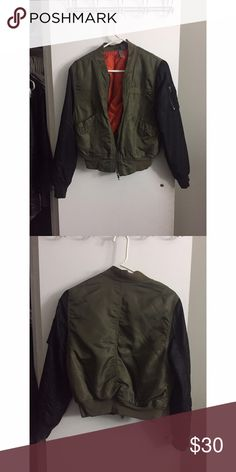 Army bomber Trendy bomber- with distressed pulls on the back. H&M Jackets & Coats Puffers