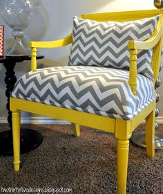 Grey & Yellow Chevron Stripes Chair Two Thirty-Five Designs: Master Chair Redo