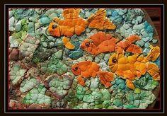 Goldfish Eggshell Mosaic (on round thrift-shop plaque)