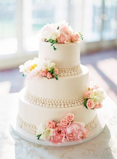 Wedding Cake -- On SMP: http://www.StyleMePretty.com/tri-state-weddings/2014/02/20/gray-pink-white-trump-national-golf-club-wedding/Photography: AhmetZe