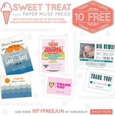 Buy 10 invitations, announcements or personal stationery and get 10 Thank You cards FREE!