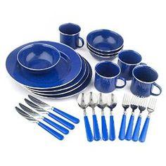 Stansport Enamel 24-Piece Tableware Set