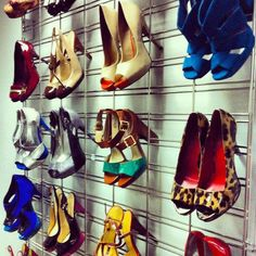 We liked this creative use of grid wall panels to display shoes! We've got great prices on grid wall at http://www.stampsstorefixtures.com >GRID