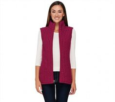 57.40$  Buy here - http://vingm.justgood.pw/vig/item.php?t=9fi4pa19941 - Susan Graver Zipper Front Slvless Textured Vest Pockets Fuchsia 1X NEW A268575 57.40$