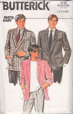 Butterick 4135  1980s Mens Fast Easy Single  or Double Breasted Jacket vintage sewing pattern by mbchills