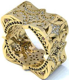 LUZ Houman - Alone Ring in 18K Yellow Gold. White diamonds, black diamonds.