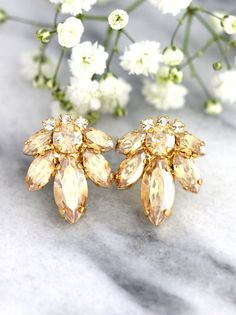 Champangue Earrings Bridal Cluster Earrings Swarovski by iloniti Cluster Earrings, Crystal Earrings, Stud Earrings, Crystal Jewelry, Bridesmaid Earrings, Wedding Earrings, Bridesmaids, Grandmother Jewelry, Stylish Jewelry