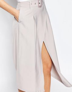 Image 3 of Boohoo Belted Aysmetric Skirt