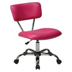 Office Star Vista Chrome and Vinyl Desk Chair - Pink