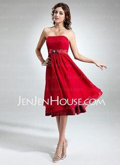 Homecoming Dresses - $134.29 - A-Line/Princess Strapless Knee-Length Chiffon Charmeuse Homecoming Dress With Sash (022016396) http://jenjenhouse.com/A-Line-Princess-Strapless-Knee-Length-Chiffon-Charmeuse-Homecoming-Dress-With-Sash-022016396-g16396