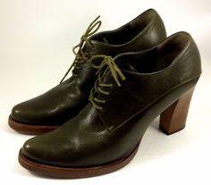 MIU MIU by PRADA Shoes ~ Women's Olive Leather Stack Heel Booties ~ Euro 38 US 8 #MIUMIU #LaceUps