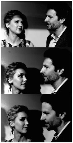 Jennifer Lawrence looking at Bradley Cooper