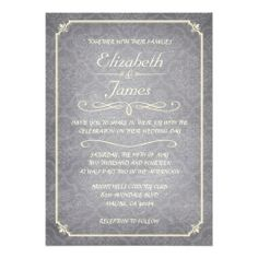Silver Damask Chalkboard Wedding Invitations Cards