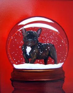 I NEED THIS!! French Bulldog Dog Snow Globe by Original M @ dogwagart