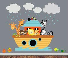 Items similar to Children Noahs Ark Wall - Nursery Decal Sticker - Noahs Ark Playroom Bedroom Decor Noashs Ark Room Decor - on Etsy Childrens Wall Decals, Nursery Wall Decals, Art Mural, Wall Murals, Wall Art, Noahs Arc, Church Nursery, Removable Wall Decals, Textured Walls