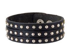 Cool Nail Leather Band Bracelet (Black)