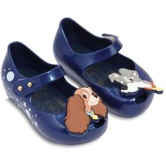 Mini Melissa Kids-girls Scented Lady & The Tramp Rubber Flats (370 BRL) ❤ liked on Polyvore featuring blue