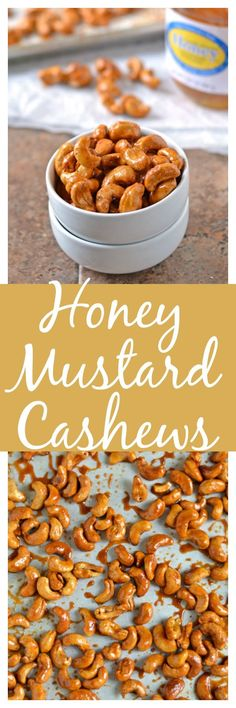A little honey and heat make these cashews absolutely irresistible! If you need a healthy snack to take on-the-go then make these clean eating cashews. Roasted Cashews, Roasted Nuts, Tapas, Cashew Recipes, Spiced Nuts, Savory Snacks, Honey Mustard, Appetizer Recipes, Appetizers