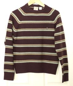 Original Penguin Munsingwear 100% Lambswool Striped Brown Crew Neck Sweater S #OriginalPenguin #Crewneck