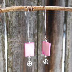 Handmade Pink Mother of Pearl Earrings by KarmaKittyJewelry