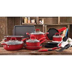 The Pioneer Woman Vintage Speckle 20Piece Cookware Combo Set Red *** More…