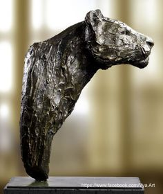 High quality foundry bronze Cats sculpture by artist Artist Vya titled: 'The Stalking (Lioness Stalking Hunting bronze Big Cat Bust Head statue)'