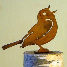 Elegant Garden Singing Warbler Bird Silhouette Rusty Metal Rustic Art Made USA for sale online Metal Birds, Glass Birds, Metal Garden Art, Metal Art, Wooden Bird Feeders, Plasma Cutter Art, Steampunk, Bird Silhouette, Rusty Metal