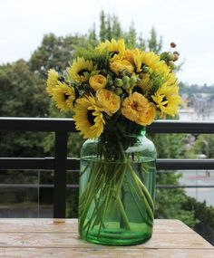 The yellow flowers spoke to me when I was perusing among hundreds of exquisite botanical choices this week! When I visited the Seattle Wholesale Growers Market, I started with the amazing crabappl… Yellow Flowers, Design Projects, Harvest, Glass Vase, Floral Design, Things To Sell, Floral Patterns