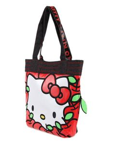 Hello Kitty Red Apple Shoulder Bag - Hello Kitty Shopping Bag - Hello Kitty Stores :: BeardBrother Hello Kitty Bag, Red Apple, Cosmetic Bag, Fashion Bags, Shopping Bag, Reusable Tote Bags, Shoulder Bag, Wallet, Pastel Pink