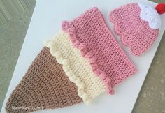 PATTERN Ice Cream Cone Crochet Newborn Outfit Cocoon and Hat