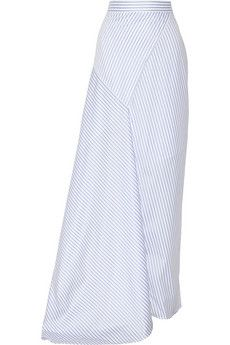 Michael Lo Sordo Wrap-effect striped cotton-poplin maxi skirt | NET-A-PORTER A great mix of sport and elegance.
