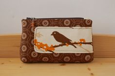 Zipper Pouch in Sparrow in Almond on Chocolate by bluecalla, $18.00