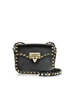 Valentino Rockstud Black Leather Small Shoulder Bag at FORZIERI