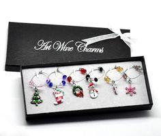 Navidad Adornos 1 encantos do vidro de vinho decoração de mesa com caixa mista de prata 50x25mm 57x25mm em Decoração de natal de Casa & jardim no AliExpress.com | Alibaba Group