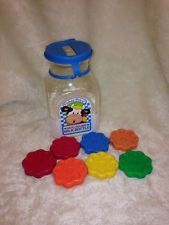 1033 Fisher Price 1990 Moo Sound Milk Bottle with 7 Colored Cookies Vintage Toy