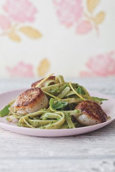 Candice Kumai Pan Seared Scallops With Skinny Pesto Fettuccine