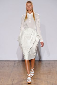 Nicole Farhi spring '13: knit top with white skirt