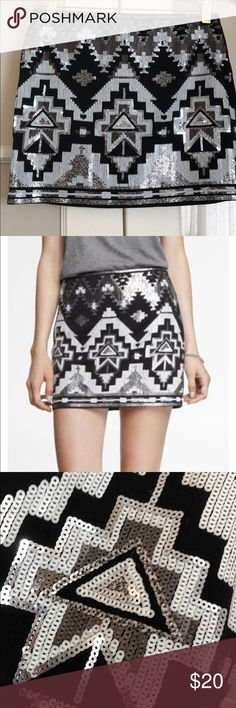 NEW WITH TAGS! Express Aztec sequin skirt Black, white and silver sequin mini skirt Express Skirts Mini