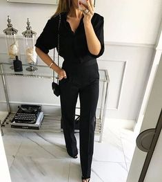 Trend Outfits for Work Fashion Trajes Business Casual, Business Casual Outfits, Business Fashion, Classy Outfits, Chic Outfits, Black Outfits, Business Chic, All Black Professional Outfits, Work Outfits