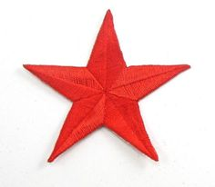 """Star Embroidered Red Iron-On 2.5"""""""